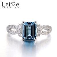 Leige Jewelry London Blue Topaz Ring With White Topaz Silver 925 Romantic Wedding Promise Rings For