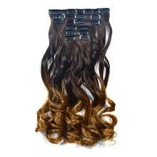 Feibin удлинители волос с зажимом синтетические волосы Омбре