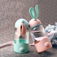 Креативные милые животные с заячьими ушками стеклянная бутылка для воды студенческий детский портативный чайник молочная посуда с силиконовым антигорячим набором