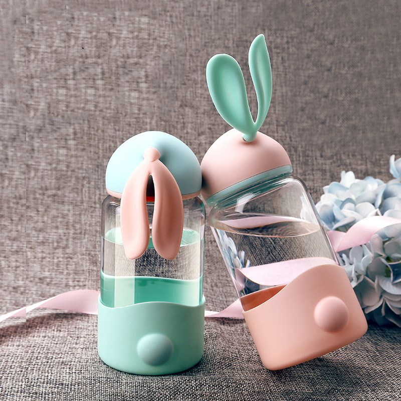 Creative Lovely Animal Rabbit Ear Glass Water Bottle Student Children Portable Kettle Milk Drinkware with Silicone Anti-hot Set