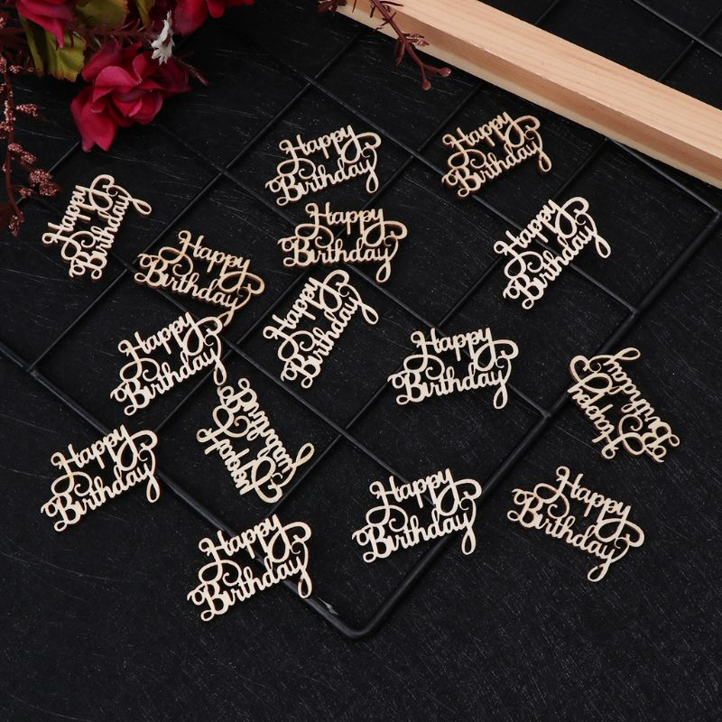 15Pcs Wooden Happy Bithday Table Confetti Scatter Vintage Rustic Party Decor Craft Scrapbook Decorations in Party DIY Decorations from Home Garden