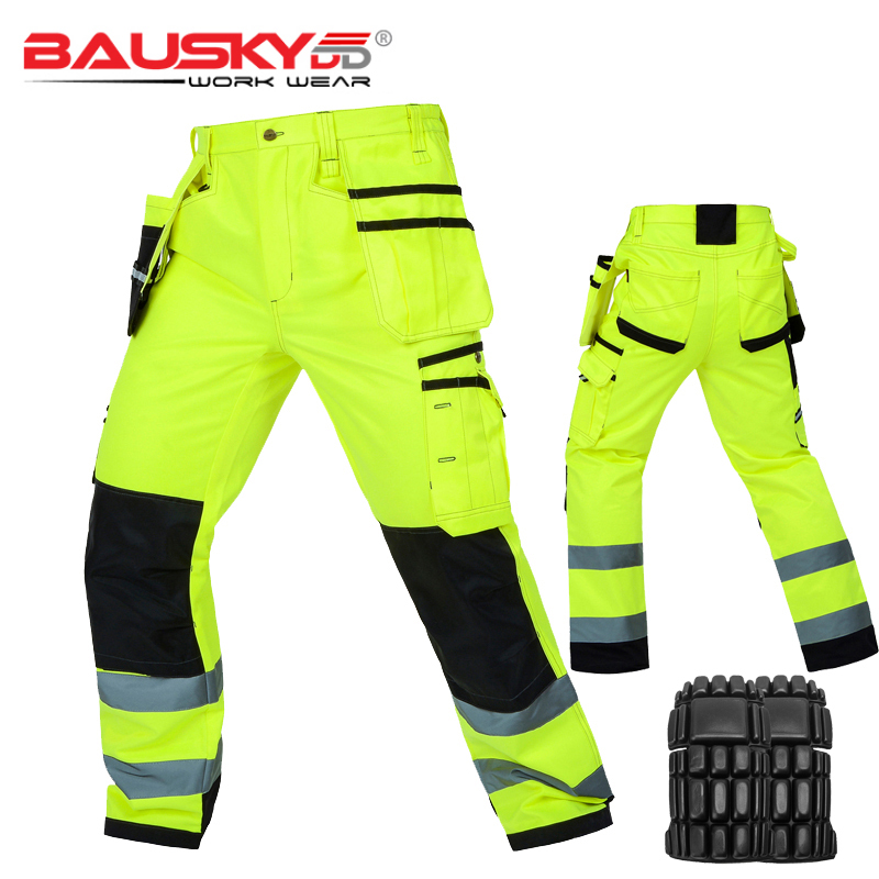 Bauskydd High Visibility Mens Multi-pocket Fluorescent Yellow Safety Reflective Cargo Work Trousers Working Pant Fast Shipping
