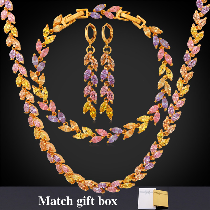 Luxury Jewelry Sets For Women Gold Color Cubic Zircon Color Crystal Necklace Bracelet Earrings Set NEH5235