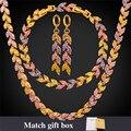 Sistemas de La Joyería de lujo Para Las Mujeres Chapado En Oro Circón Cúbico de Color Collar de Cristal Pulsera Aretes NEH5235
