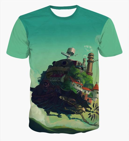 Classic Anime Castle in the Sky T-shirt Men Women Summer Casual tee shirt Hipster 3D t shirt Cute Cartoon tshirts tees