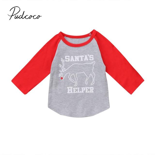 2017 brand new christmas shirt toddler infant child kids baby boy girls deer xmas long sleeve - Girls Christmas Shirts