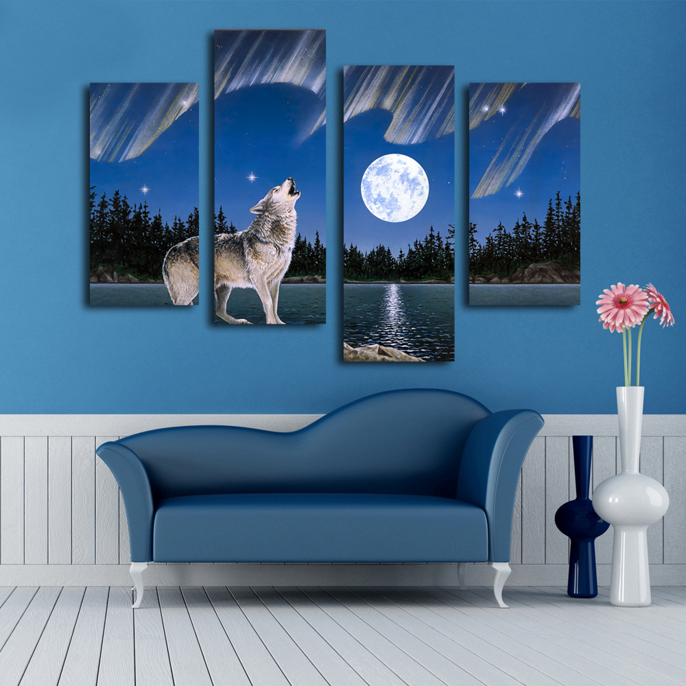 wild roaring wolf painting 4 pcs canvas prints art modern home decoration wall art picture multi panels animal artwork no frame in painting calligraphy - Multi Frame Wall Art