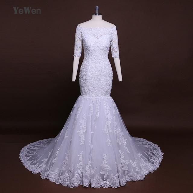 b3d958d4d13 Ghana 80cm Trailing High Quality Lace Mermaid white Ivory Wedding Dresses  2018 Diamond Off The Shoulder Bridal Gown Plus size