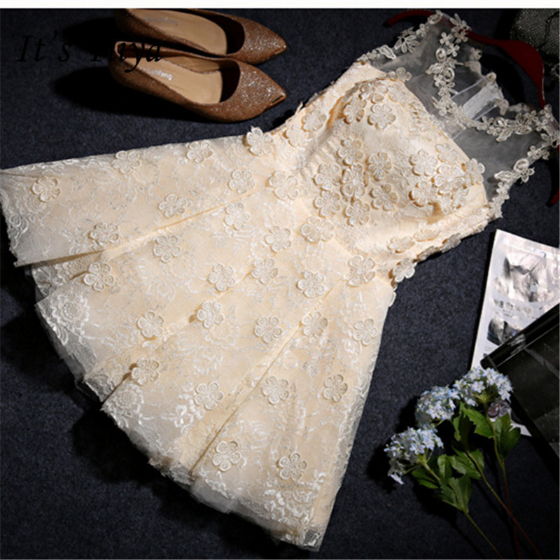 It's YiiYa New Simple Lace Strapless Pure Color   Bridesmaid     Dresses   Elegant Knee-length Back Lace Up A-line   Dress   H117