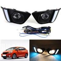 Guiding LED DRL Daytime Running Lights LED Fog Lamp Light For Honda Fit 14 16