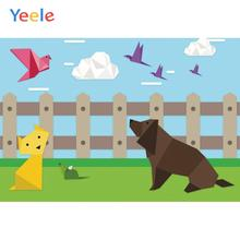 Yeele Wallpaper Origami Farm Dog Cat Clouds Decor Photography Backdrops Personalized Photographic Backgrounds For Photo Studio