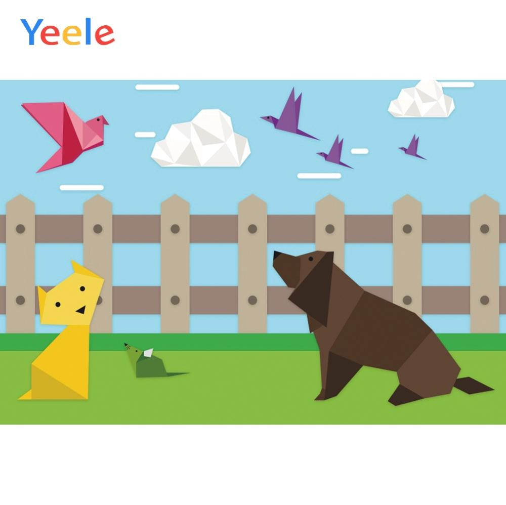 Yeele Wallpaper Origami Farm Dog Cat Clouds Decor Photography Backdrops Personalized Photographic Backgrounds For Photo Studio image