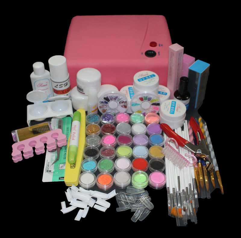 BTT-116 free shipping Pro 36W UV Dryer acrylic nail art set ,acrylic nail kit ,kit nail gel ,kit Gel nails set with lamp btt 138 pro nail polish eu us plug 9w uv lamp gel cure glue dryer 54 powder brush set kit at free shipping