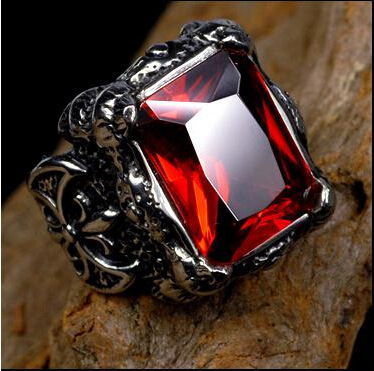 Titanium steel man red ring jewelry restoring ancient ways male gothic red jewelry in Europe and the personality rings