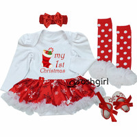 First Birthday Newborn Gift Clothing Set Baby Girls Dress Cotton Mesh Ruffle Girl Christening Gowns 4pcs
