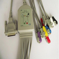 Free Shipping 10 Lead ECG/EKG Cable for Schiller AT1, AT2, AT3, AT4, AT5, AT6, AT10, AT60, AT101, AT102, AT104 Clips End
