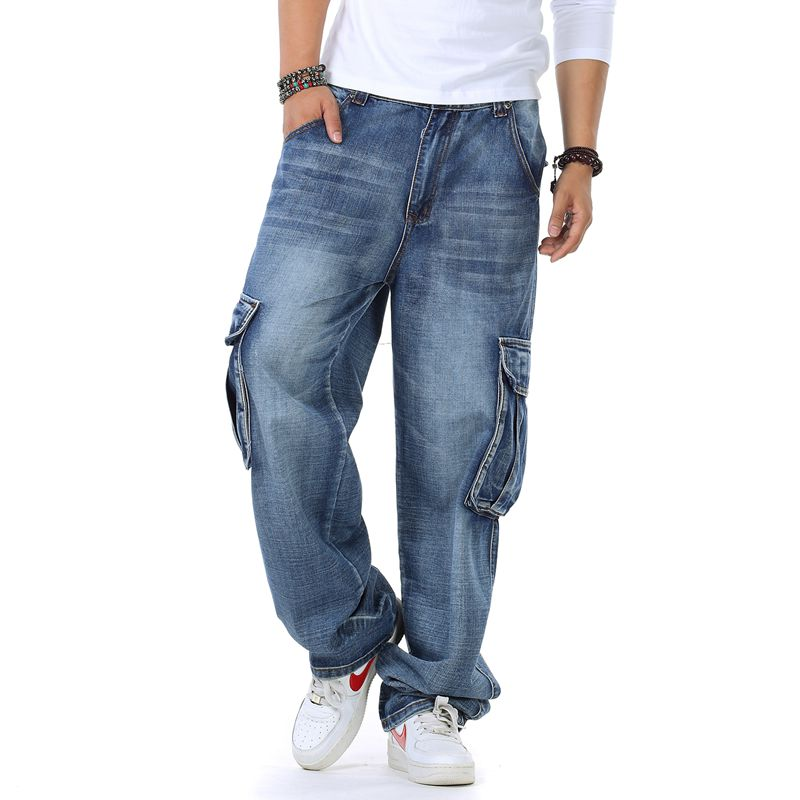 Autumn Winter Men Hip Hop Large Size Loose Straight Tube Baggy Jeans Skateboard Pants With Side Pockets Male Denim Long Trousers men hip hop jeans skateboard men baggy jeans denim hit hop pants casual loose jeans rap street wear