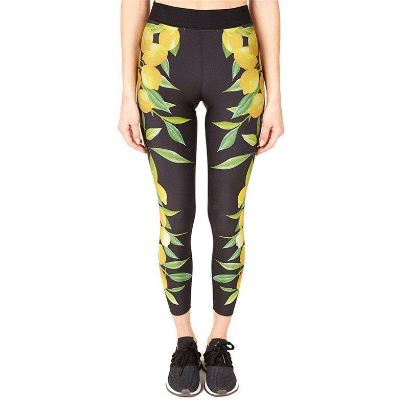 b94aa83d4f2d6 Lemon Printed Yoga Pants Women High Waist Fitness Sport Leggings Running  Women Tight Compression Elastic Workout Yoga Leggings