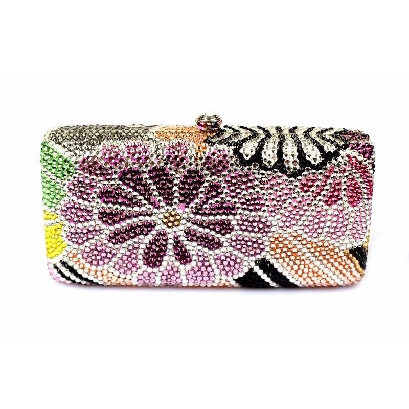ФОТО 7753A Crystal Floral flower Lady fashion Bridal Wedding Metal Evening purse clutch bag case handbag box