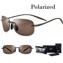 Aviação óculos de Sol Sem Aro TR90 Polarizada HD Óculos De Sol Dos Homens  de Luz Flexível óculos para As Mulheres com Nylon Lent. 6402f58096