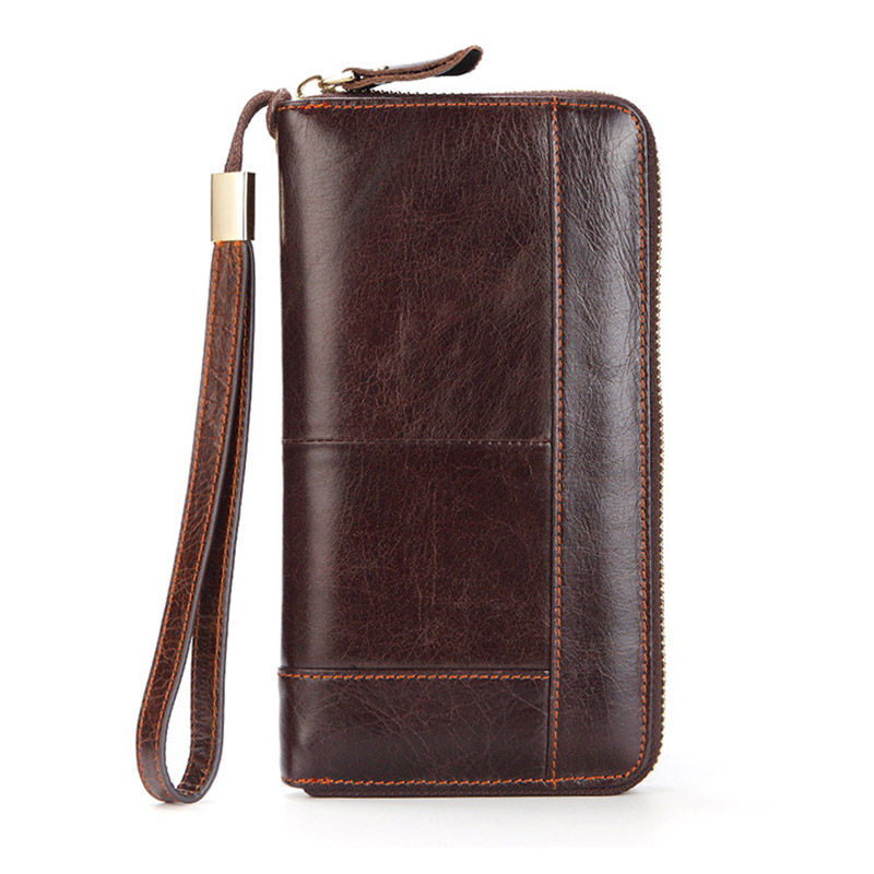 Men Business Long Wallet Casual Genuine Leather Clutch Purse Male Zipper Long Card Holder Bag Wallet