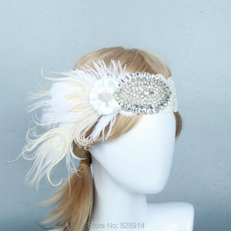 Vintage 1920s Gatsby Dress Lace Headband Fancy Dress Party Headpiece Hair Band handmade HB8017