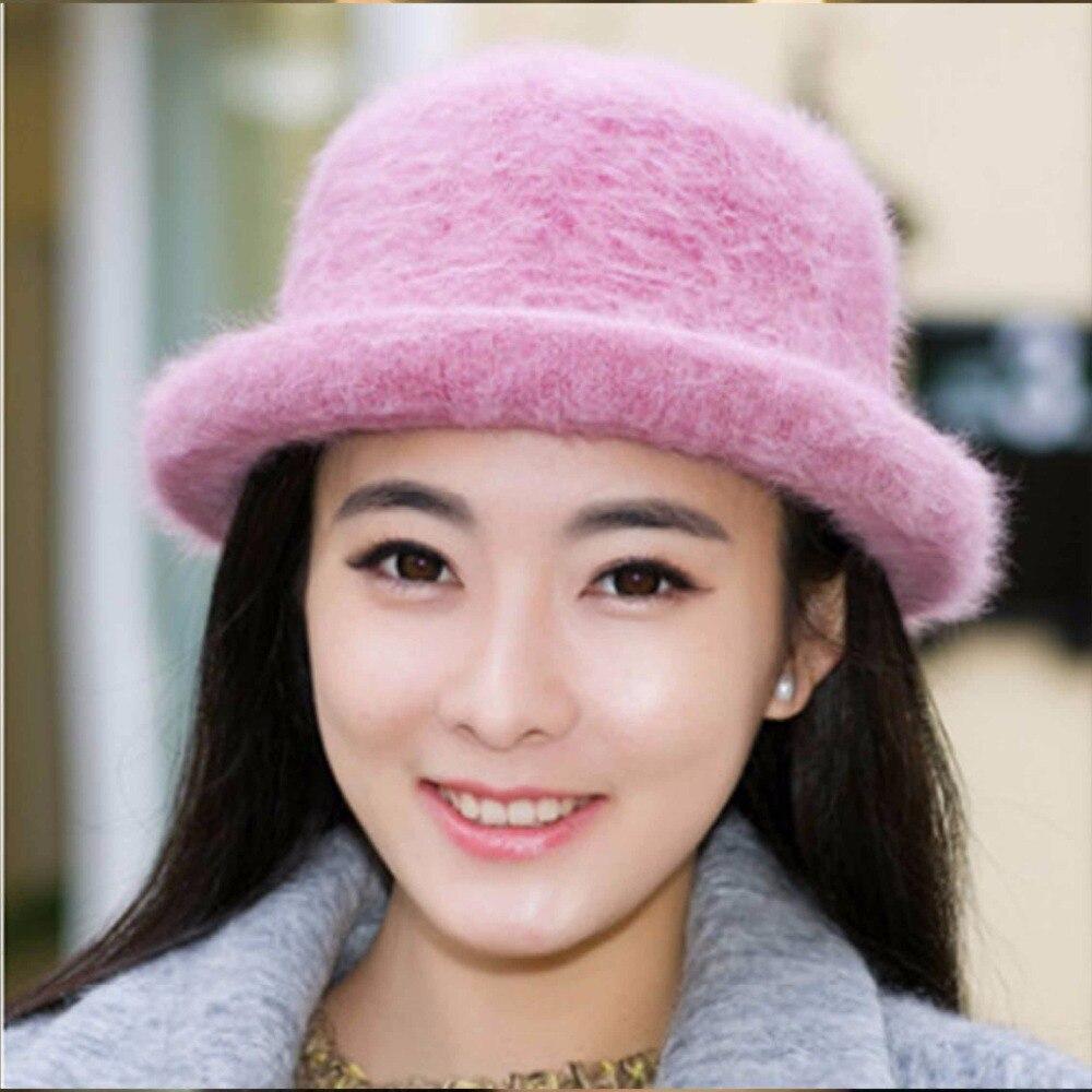 447efa785be Hot Sales Winter Bucket Hat for Women Rabbit Wool Warm Solid Pink Floppy  Hats for Women