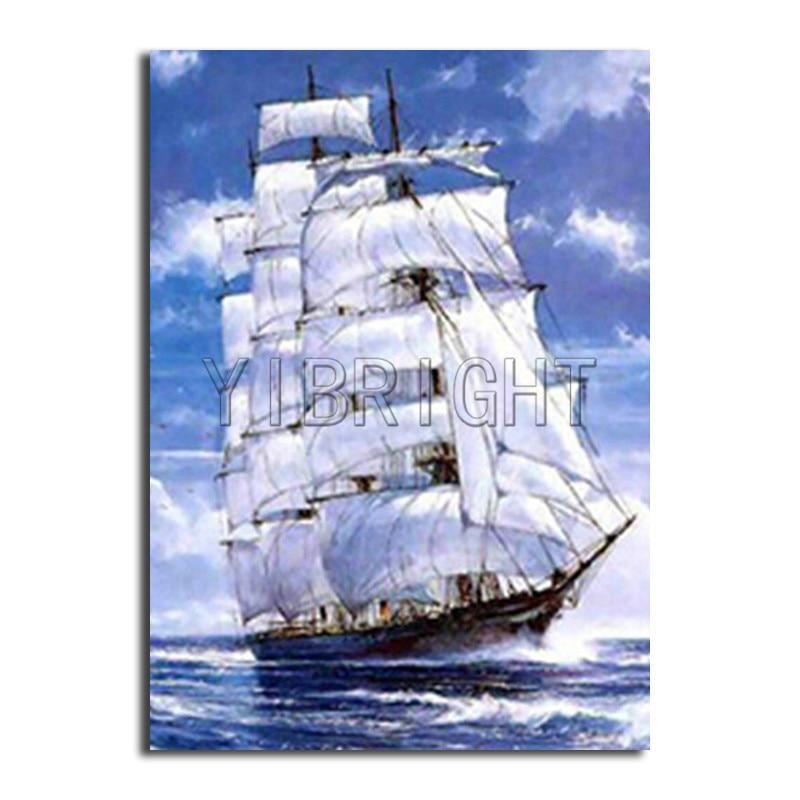 Needlework Diy Diamond Painting Full Round Ship 5d Diamond Embroidery Painting Diamond Mosaic Sea White Sailboat Decoration Y2