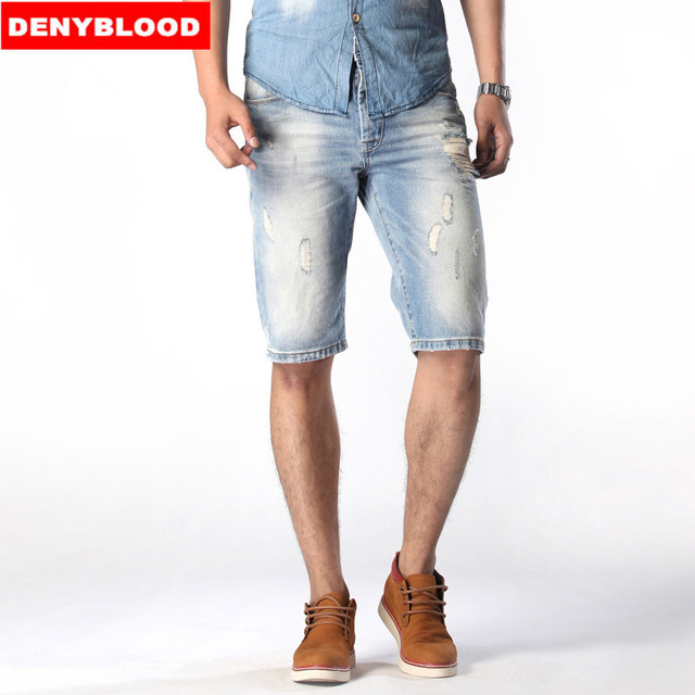 2016 Shorts Men Fashion Casual Mens Cotton Straight Shorts Distressed Jeans  Ripped Designer Bermuda Homme Mens