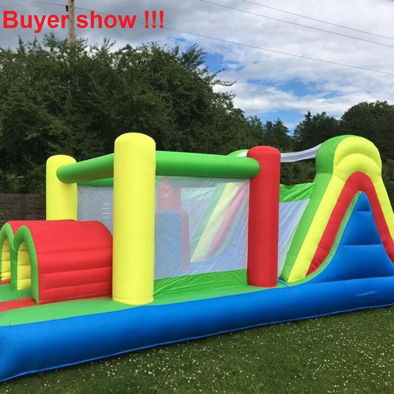 YARD 6 in 1 Bouncy Castle Outdoor Backyard Inflatable Obstacle Course Bouncer for Kids Play Bounce House yard residential inflatable bounce house combo slide bouncy with ball pool for kids amusement