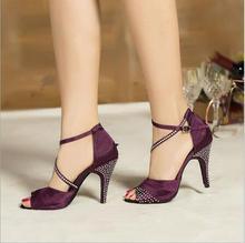 2017 Brand Purple Blue Satin Latin Dancing Shoes Women's Rhinestone High Heeled Shoes Salsa Party Ballroom Dancing Shoes 10cm