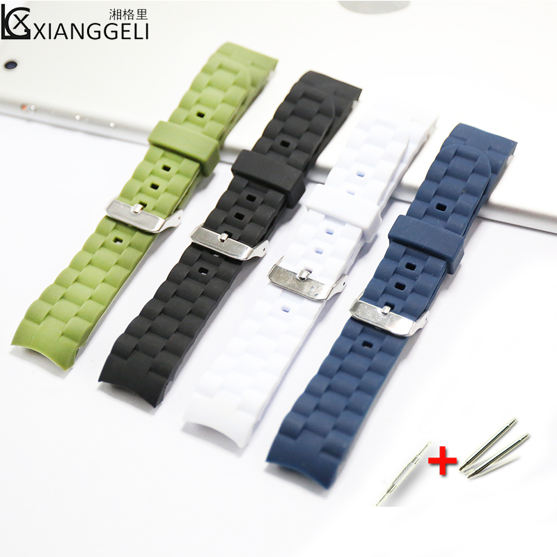 Watch Accessories 20mm Silicone Watch with Curved Interface Pin Buckle For Men & Women Children Casual Fashion Sports Strap watch accessories silicone strap 20mm buckle rubber watch with curved elbow tape for brand watches