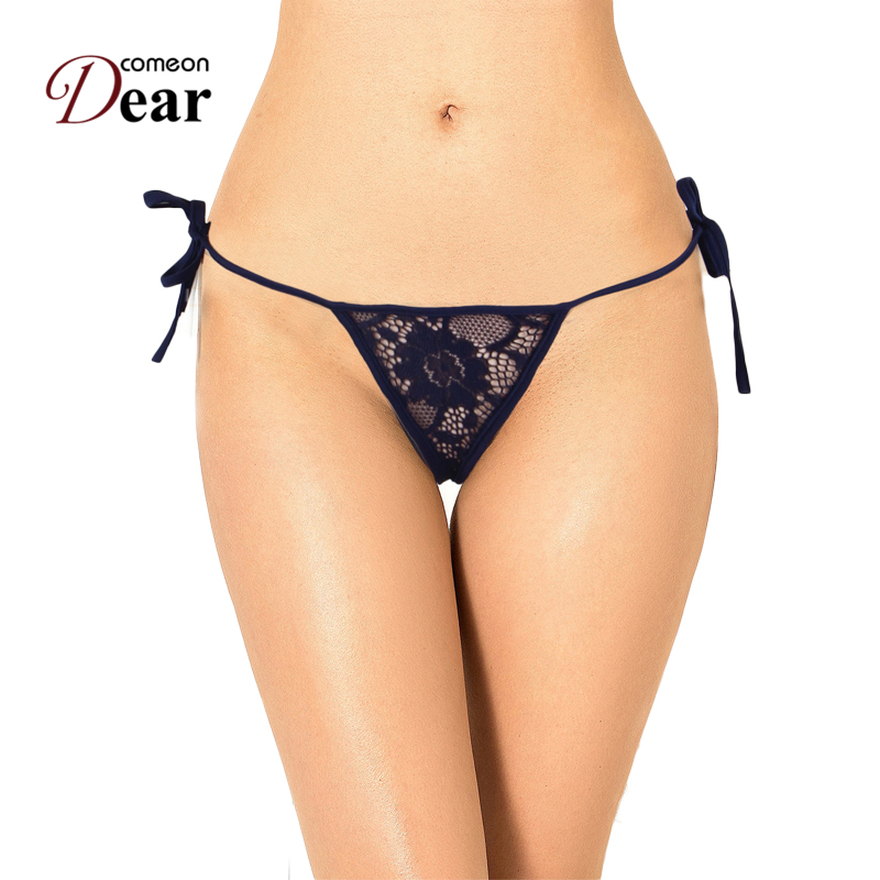 Comeondear Hot Selling Lace Up Sexy Navy Blue Panty Sexy Erotic Brief Women Thong Woman Pb Sex Panties Crotchless Underwear