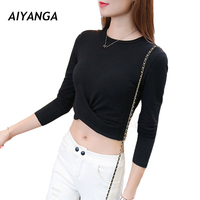 Quality Cotton Long Sleeve T Shirts For Women Crop Tops Under Shirts Tops Female Solid Color