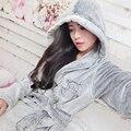 Mulheres Roupão de Banho Outono E Inverno Solto Gary Urso Dos Desenhos Animados Mulheres Robes Flanela Xale Unisex Pijama Camisola Vestido Sono