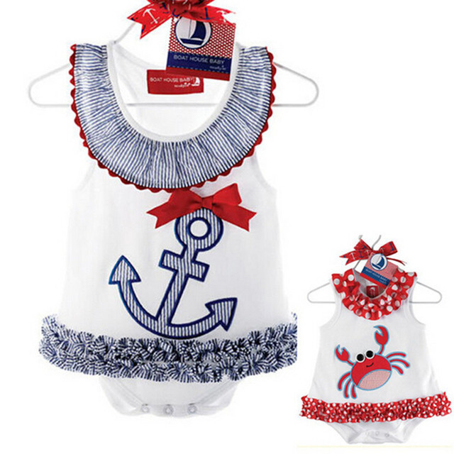 f5ad5ebfae46 2016 Baby Rompers Summer Girl Boat Anchor Sailor Lace Dress Romper ...