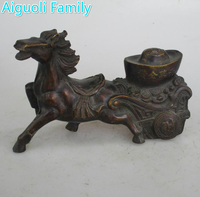 AAA+Rare Chinese Old Copper Carved Horse Money Car Statue/Metal Sculpture Craft For Home Decoration Antique Collection