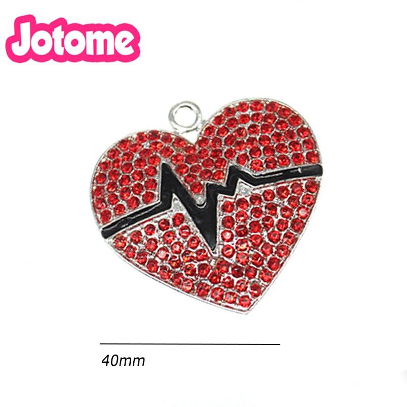 En gros 100 pièces émail strass médical coeur forme infirmière battement de coeur bijoux pendentif charme pour collier/cadeau/fête