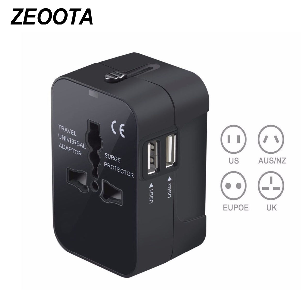 Universal Worldwide All in One Phone Charger Travel Wall AC Power Plug Adapter with Dual USB Charging Ports for USA EU UK AU all in one universal international plug adapter 2 usb port world travel ac power charger adaptor with au us uk eu converter plug