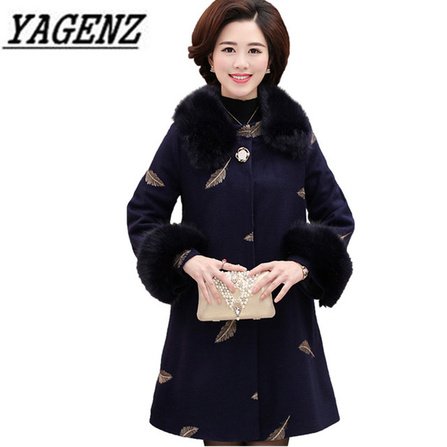8f979798db6 2018 New Women s Big fur collar Wool Jackets Fashion Thick Embroidery  Middle-aged Mother Warm Overcoat Winter Ladies Wool Coats