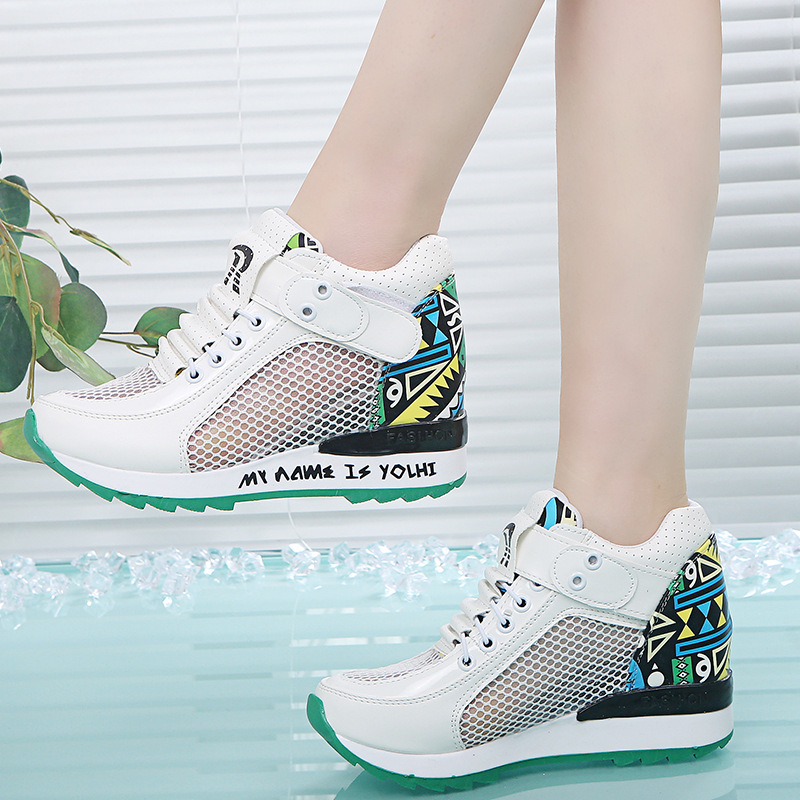 2019 spring and summer new women's shoes increased net shoes wild breathable mesh surface hollow leisure sports wedge 12