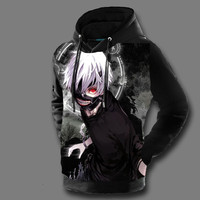 3D Hoodies Sweatshirts Tokyo Ghoul Pullovers 2017 Top Ken Kaneki Anime Character Printed Male Streetwear Loose Thin Tops Casual
