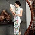 Китайский Стиль Шелковый Qipao женская Печати Тонкий Cheongsam Партия Долго Qipao Китайские Восточные Платья Традиционная Национальная Ветер Платье