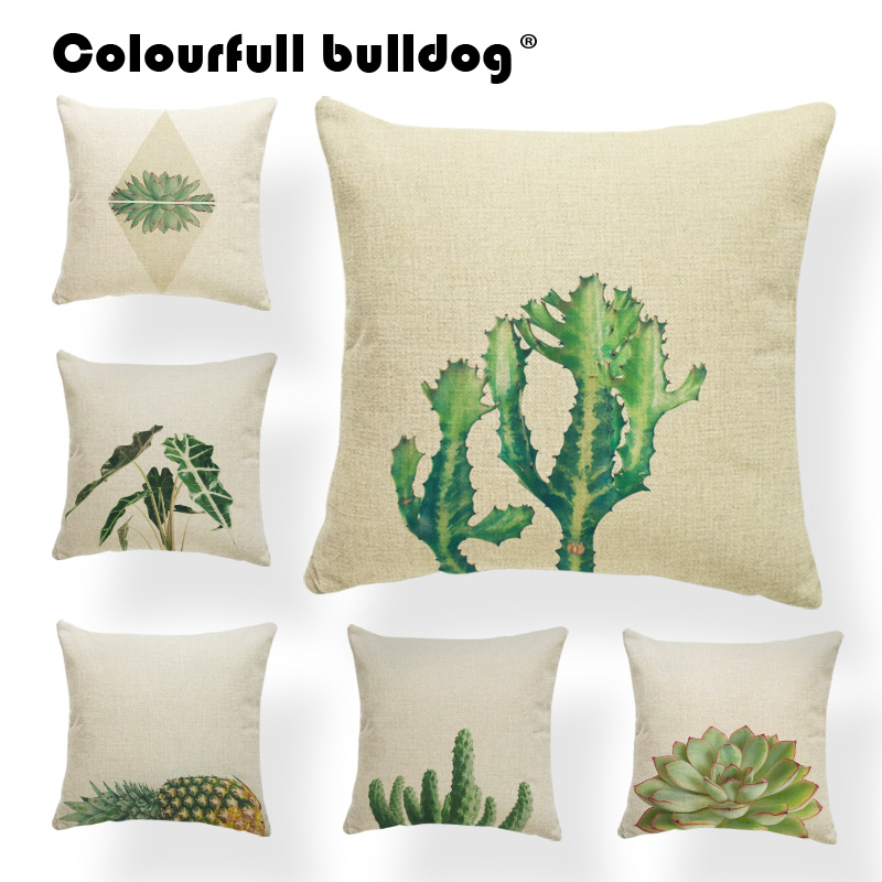Tropical Plants Cushion Cover Green Pillowcase Lounger Chair Living Room Overlap Throw Pillow Cushion 45x45cm Linen Promotional