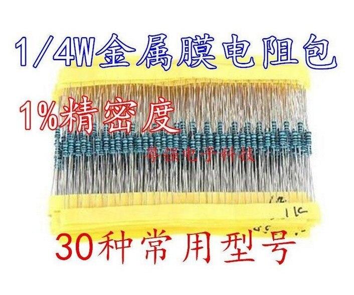 600 metal película resistencias 30 valores por cada 20 unidades surtido 10-ohm 1 Mohm