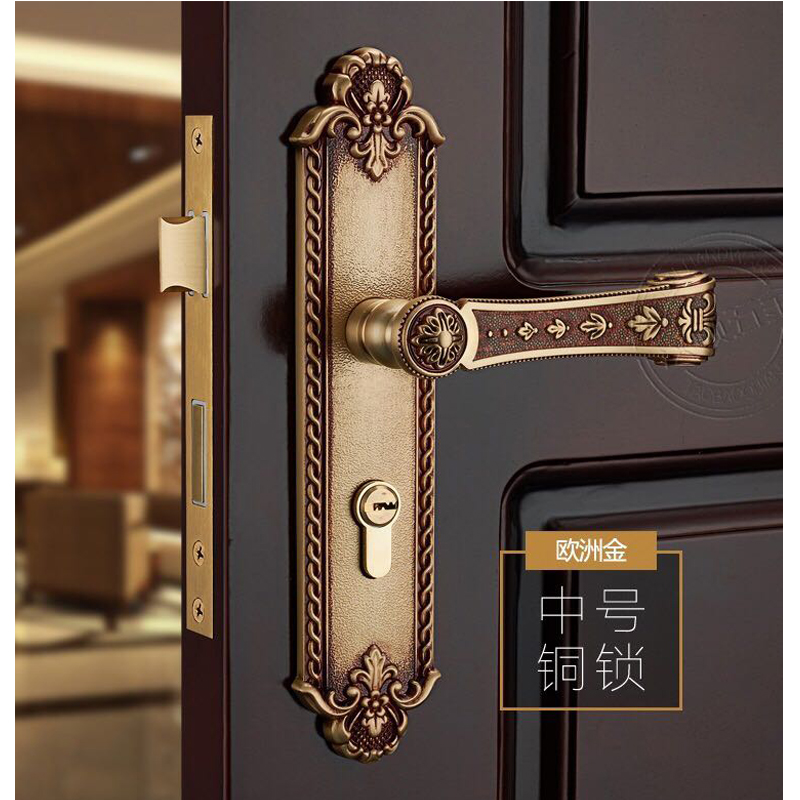 SOLID BRASS MATERIAL EURO GOLD COLOR DOOR HANDLE LOCK WITH 70MM LXL CYLINDER 35 55mm door thickness door handle brass lock with 70mm key lock page 4
