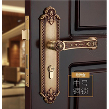 SOLID BRASS MATERIAL EURO GOLD COLOR DOOR HANDLE LOCK WITH 70MM LXL CYLINDER 65mm with 8 keys thumb turn euro profile cylinder barrel lock brass satin nickel finish