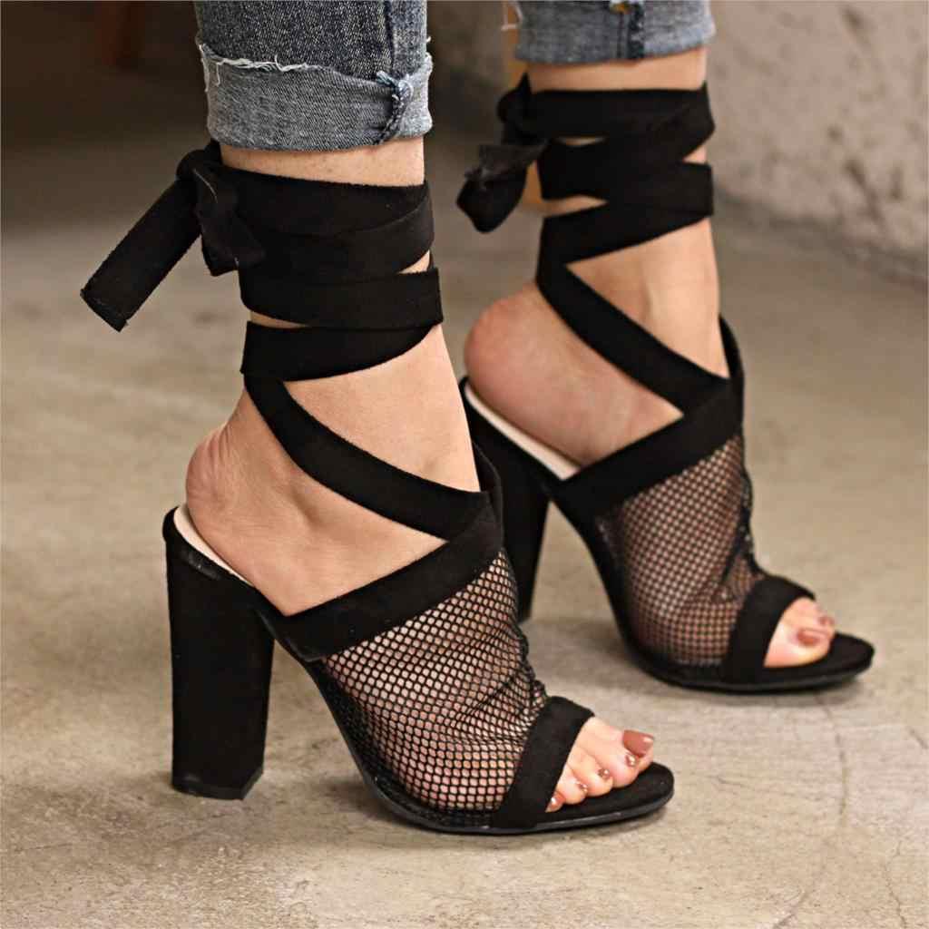 Giày Xăng Đan nữ Nữ Bơm Thời Trang Nữ Giày Nữ Giày Cao Gót Thoáng Khí Khối Giày Cao Gót Nữ Gót Vuông Plus Size 43