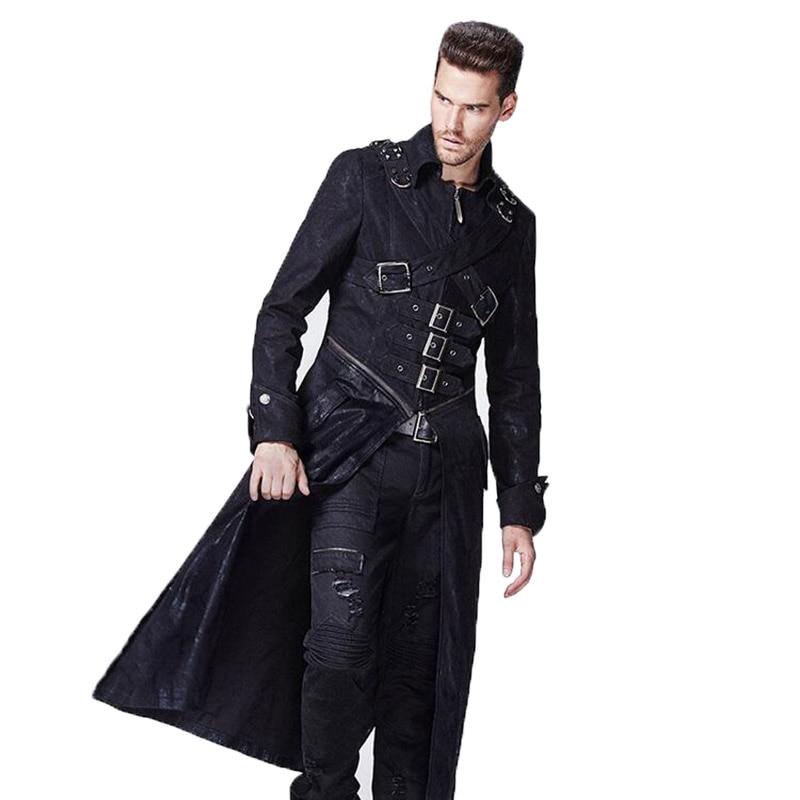 Зимние панк куртки для мужчин стимпанк готика Готический длинное пальто ветровки Военная Униформа Куртки Большие размеры брендовая одежда
