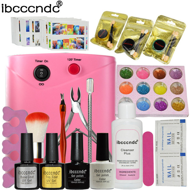 Nail Art Set Manicure Tools 36W UV Lamp 2 Colors Gel Nail Polish Base Top Coat Kit with Remover Mirror Powder 12 Colors Glitters